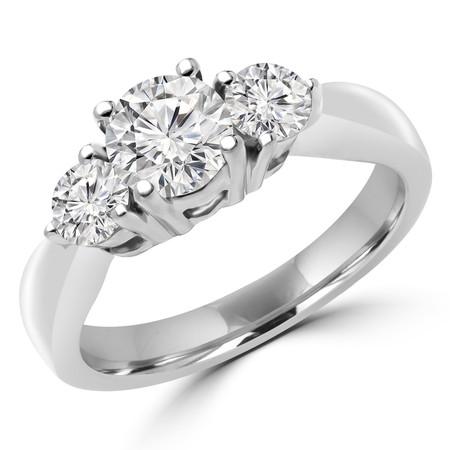 Round Cut Diamond Three-Stone 4-Prong Trellis-Set Engagement Ring in White Gold - #1596/97/98/L-W