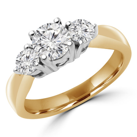 Round Cut Diamond Three-Stone 4-Prong Trellis-Set Engagement Ring in Yellow Gold - #1596/97/98/L-Y