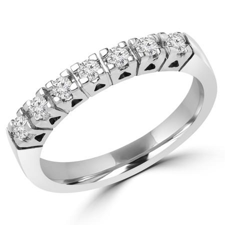 Round Cut Diamond Multi-Stone Semi-Eternity 4-Prong Wedding Band Ring in White Gold - #1616L-W