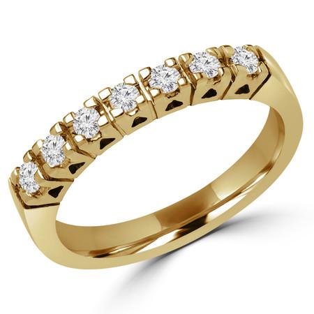 Round Cut Diamond Multi-Stone Semi-Eternity 4-Prong Wedding Band Ring in Yellow Gold - #1616L-Y