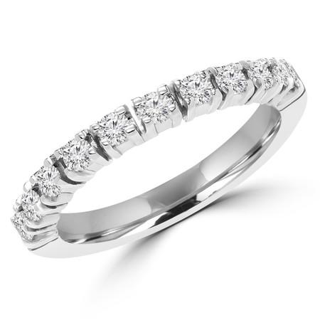 Round Cut Diamond Semi-Eternity 4-Prong Wedding Band Ring in White Gold - #1617L-W