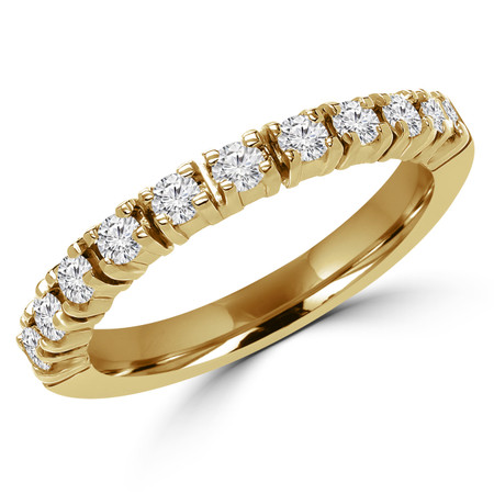 Round Cut Diamond Semi-Eternity 4-Prong Wedding Band Ring in Yellow Gold - #1617L-Y