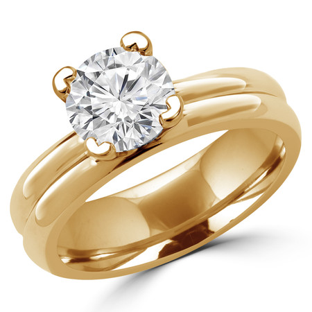 Round Cut Diamond Solitaire V-Prong Engagement Ring in Yellow Gold - #1622L-Y