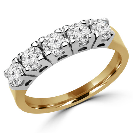 Round Cut Diamond Semi-Eternity 4-Prong Wedding Band Ring in Yellow Gold - #1784/87/90/L-Y