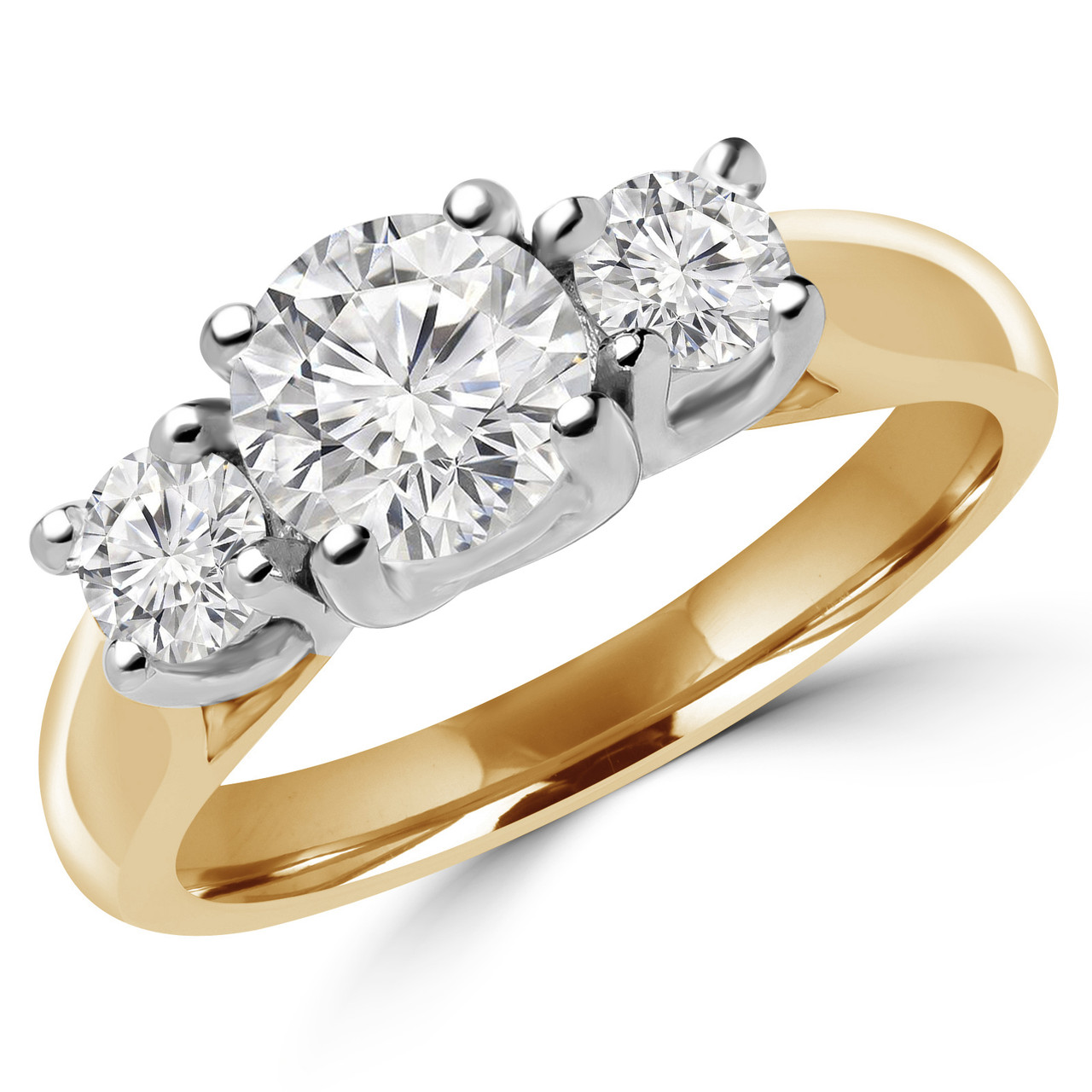7c27a2892 Round Cut Diamond Three-Stone 4-Prong Engagement Trellis-Set Ring in Yellow.  Tap to expand