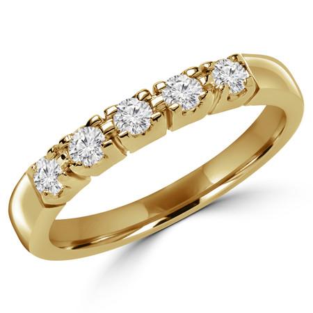 Round Cut Diamond 5-Stone Semi-Eternity 4-Prong Wedding Band Ring in Yellow Gold - #2080/81/82/L-Y