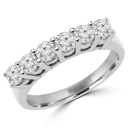 Round Cut Diamond Semi-Eternity Shared-Prong Wedding Band Ring in White Gold - #2208L-W