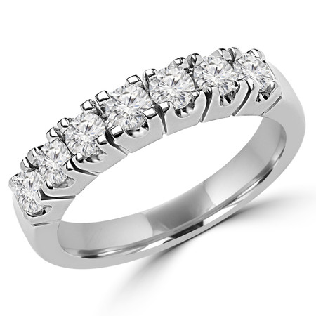 Round Cut Diamond Semi-Eternity 4-Prong Wedding Band Ring in White Gold - #2212L-W