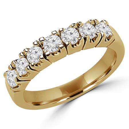 Round Cut Diamond Semi-Eternity 4-Prong Wedding Band Ring in Yellow Gold - #2212L-Y