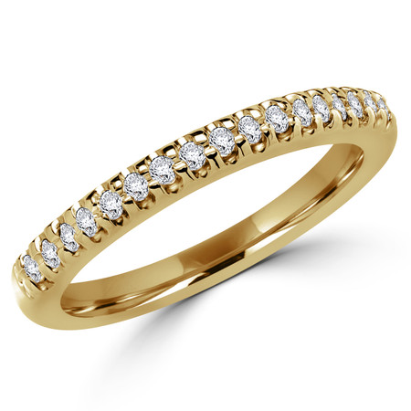 Round Cut Diamond Shared-Prong Wedding Band Ring in Yellow Gold - #2526L-Y