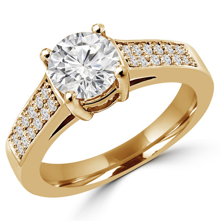 Round Cut Diamond Multi-Stone 4-Prong Cathedral & Trellis-Set Engagement Ring with Round Diamond Pave Accents in Yellow Gold - #2132L-Y