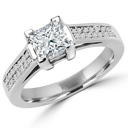 Princess Cut Diamond Multi-Stone 4-Prong Cathedral & Trellis-Set Engagement Ring with Round Diamond Pave Accents in White Gold - #2133LP-W