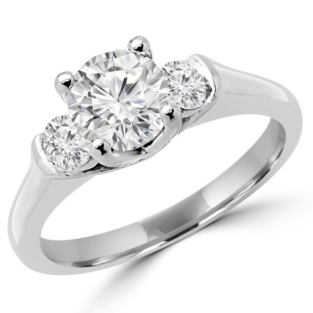 Round Cut Diamond Three-Stone 4-Prong & Bar-Set Engagement Ring in White Gold - #2182/83/84/L-W
