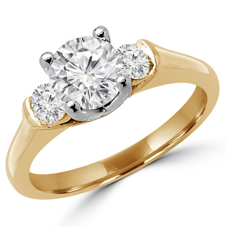Round Cut Diamond Three-Stone 4-Prong & Bar-Set Engagement Ring in Yellow Gold - #2182/83/84/L-Y