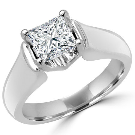 Princess Cut Diamond Solitaire 4-Prong Cathedral & Trellis-Set Engagement Ring in White Gold - #2251LP-W