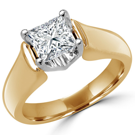 Princess Cut Diamond Solitaire 4-Prong Cathedral & Trellis-Set Engagement Ring in Yellow Gold - #2251LP-Y