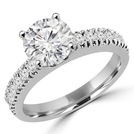 Round Cut Diamond Multi-Stone 4-Prong Engagement Ring with Round Diamond Scallop-Set Accents in White Gold - #2457L-W