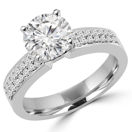 Round Cut Diamond Multi-Stone 4-Prong High-Set Engagement Ring with Round Diamond Pave Accents in White Gold - #2459L-W