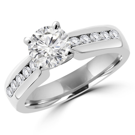 Round Cut Diamond Multi-Stone 4-Prong Engagement Ring in White Gold - #2390L-W