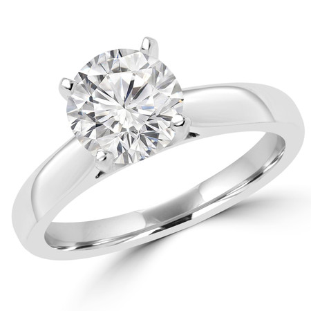 Round Cut Diamond Solitaire Cathedral-Set 4-Prong Engagement Ring in White Gold - #2545L-W