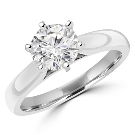 Round Cut Diamond Solitaire Cathedral Set 6-Prong Engagement Ring in White Gold - #2544L-W