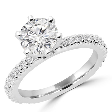 Round Cut Diamond 6-Prong Engagement Ring with Round Diamond Accents in White Gold - #2247L-W