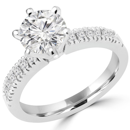 Round Cut Diamond Multi-Stone 6-Prong Engagement Ring with Round Diamond Accents in White Gold - #2303WS-W