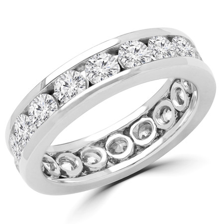 Round Cut Diamond Full-Eternity Channel Set Wedding Band Ring in White Gold - #816L-W