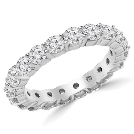 Round Cut Diamond Multi-Stone Full-Eternity Shared-Prong Wedding Band Ring in White Gold - #2216L-W