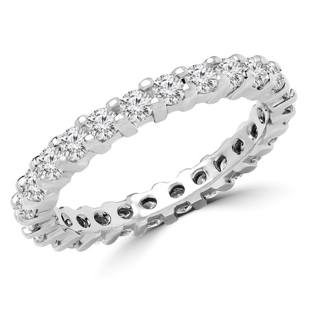 Round Cut Diamond Full-Eternity Shared-Prong Wedding Band Ring in White Gold - #2444L-W