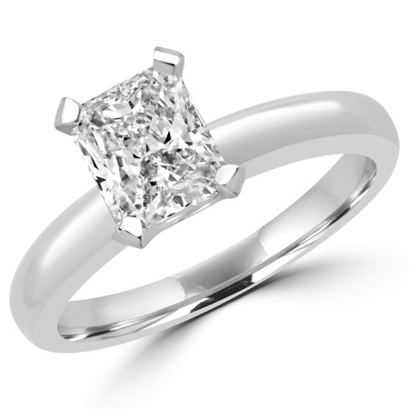 Radiant Cut Diamond Solitaire Engagement 4 Double-Prong Ring in White Gold - #1504L-W-RA