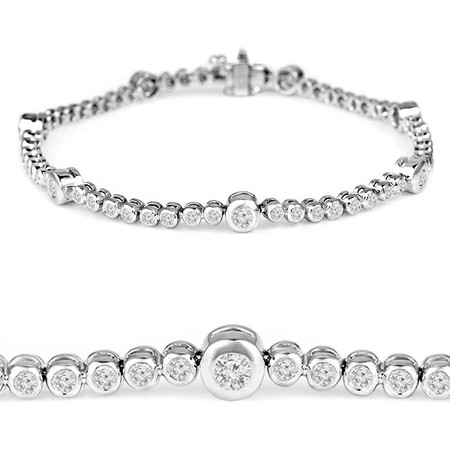 Round Cut Diamond Bezel-Set Tennis Bracelet in White Gold - #B2118-W
