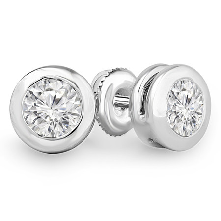 Round Cut Diamond Solitaire Bezel-Set Stud Earrings with Pushbacks in White Gold - #ER1000-W