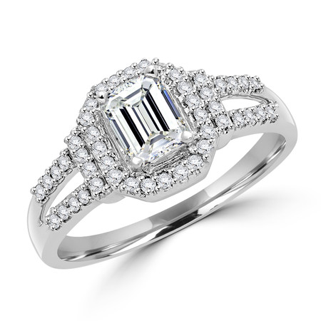 Emerald Cut Diamond Multi-Stone Split-Shank Halo Engagement Ring with Round Diamond Accents in White Gold - #ESFQ111-W-EM