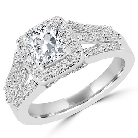 Cushion Cut Diamond Multi-Stone 4-Prong Split-Shank Vintage Halo Engagement Ring with Round Diamond Accents in White Gold - #FRCF5270-W-CU