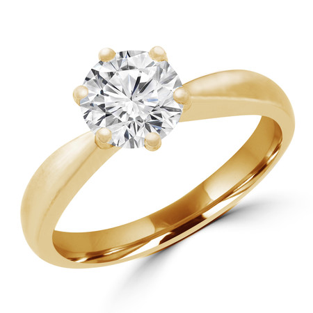 Round Cut Diamond Solitaire Tapered-Shank 6-Prong Engagement Ring in Yellow Gold - #HR3368-Y
