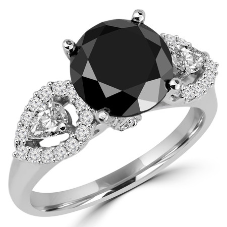 Round Cut Black & Pear Cut White Diamond Multi-Stone 4-Prong Engagement Ring with Round White Diamond Accents in White Gold - #HR6214-W-BLK