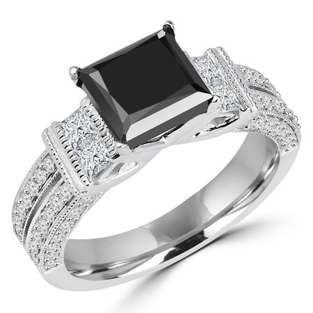 Princess Cut Black Diamond Multi-Stone 4-Prong Engagement Ring with Princess & Round Cut White Diamond Accents in White Gold - #HR6336-W-BLK