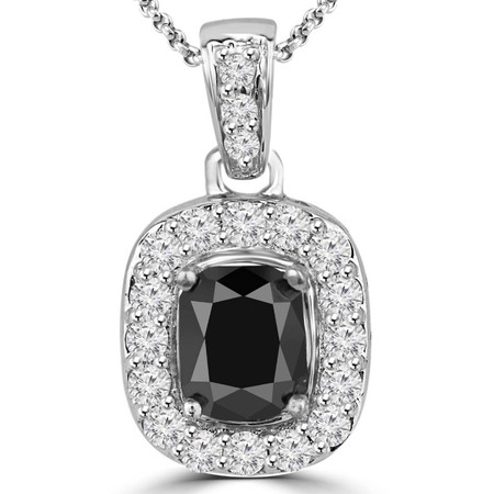 Cushion Cut Black Diamond Multi-Stone 4-Prong Halo Pendant with Round White Diamond Accents & Chain in White Gold - #IPHH4228-W-BLK
