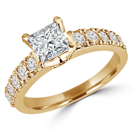 Princess Cut Diamond Multi-Stone 4-Prong Engagement Ring with Round Diamond Accents in Yellow Gold - #LOCAL-R-NOVO-PR-Y