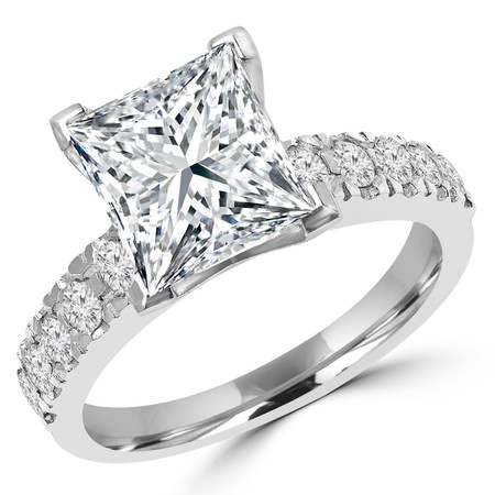 Princess Cut Diamond Multi-Stone V-Prong Engagement Ring with Round Diamond Accents in White Gold - #LOCAL-NOVO-PR-W