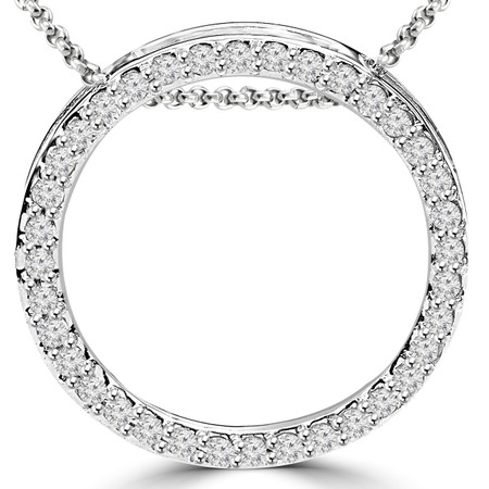 Round Cut Diamond Multi-Stone Shared-Prong Circle of Life Pendant Necklace with Chain in White Gold - #PEOF5593-W