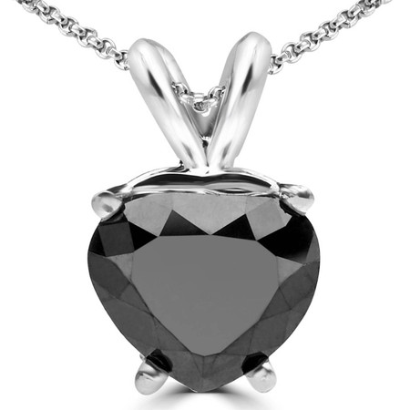 Heart Cut Black Diamond Solitaire 4-Prong Pendant Necklace with Chain in White Gold - #A2113-W-BLK