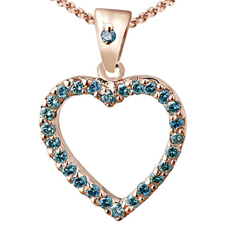 Round Cut Ocean Blue Diamond Multi-Stone Shared-Prong Heart Shape Pendant Necklace with Chain in Rose Gold - #RAF-P-HEART-R-BLUE