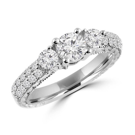 Round Cut Diamond Three-Stone 4-Prong Vintage Engagement Ring with Round Diamond Pave Accents in White Gold - #HR4735-W