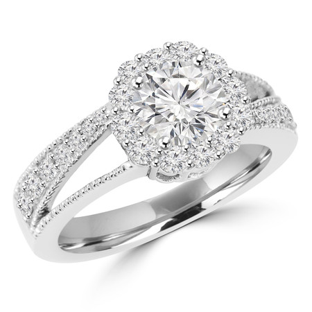 Round Cut Diamond Multi-Stone Split-Shank 4-Prong Vintage Trellis-Halo Engagement Ring with Round Diamond Accents in White Gold - #HR4743-W
