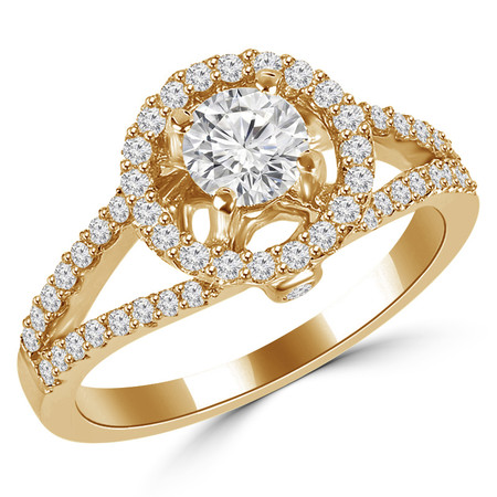 Round Cut Diamond Multi-Stone Split-Shank 4-Prong Halo Vintage Engagement Ring with Round Diamond Accents in Yellow Gold - #HR6196-Y
