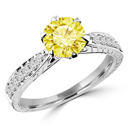 Round Cut Canary Yellow Diamond Multi-Stone 6-Prong Vintage Engagement Ring with Round White Diamond Accents in White Gold - #HR6207-W-YELLOW