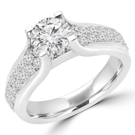 Round Cut Diamond Multi-Stone High-Set 4-Prong Engagement Ring with Round Pave Diamond Accents in White Gold - #HR6424-W