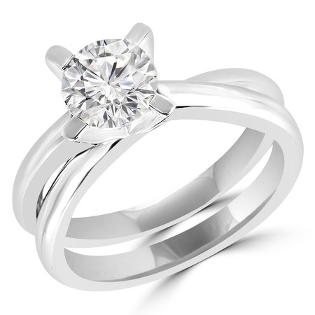 Round Cut Diamond Solitaire 4-Prong Engagement Ring in White Gold - #HR6949-W